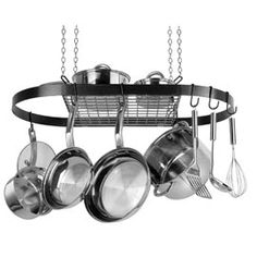 Oval Wrought Iron Pot Rack Organize cooking pots out of the way, but in easy reach!