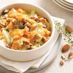 FAIT .  BON + CRÈME POUR PAS QUE CE SOIT TROP SEC  crumble de pommes de terre, mimolette et colin