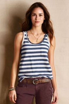 Women's Edgy Racer Tank from Lands' End Canvas