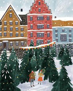 Happy Holidays Art Print by Anna Shepeta - X-Small Christmas Family Feud, Christmas Mood, Vintage Christmas, Christmas Crafts, Xmas, Illustration Noel, Winter Illustration, Christmas Illustration Design, Christmas Drawing
