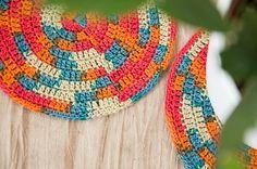 Crochet coasters round melange colored cotton coaster by elamys