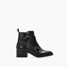 Image 1 of LEATHER MID HEELED BUCKLED BOOTIE from Zara