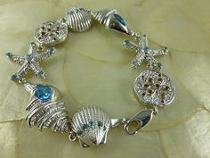Sterling Silver .925  Starfish & Shells London Swiss Blue Topaz Bracelet