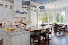 traditional white cabinet with breakfast bar