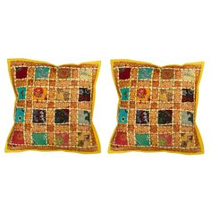 Jaipuri Designer Patchwork work with lace work design Cushion Cover