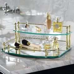 glass vanity tray | Mirror Glass Vanity Tray - Stain Brass GS16# - 3 China (Mainland ...