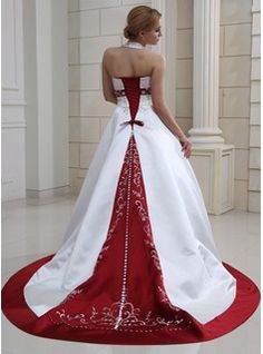 Wedding Dresses - $276.99 - Ball-Gown Halter Court Train Satin Wedding Dress With Embroidery Beadwork Sequins  http://www.dressfirst.com/Ball-Gown-Halter-Court-Train-Satin-Wedding-Dress-With-Embroidery-Beadwork-Sequins-002011730-g11730