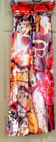 Xhilaration Multicolor Artsy Strapless Bra Top Full Maxi Dress Size M #Xhilaration #Sheath #SummerCasualBeachParty