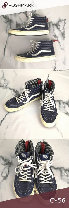 Rare Vans Leather High Tops Men's Women's 10 Navy blue leather Vans high top sneakers - Men's size or Women's size Definitely worn condition but structurally sound - zippers, laces, soles and leather in good shape. White Leather Vans, Leather High Tops, Vans Shoes, Shoes Sneakers, Rare Vans, Sweaters And Jeans, Vintage Shoes, Zippers, High Top Sneakers