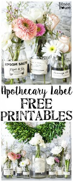 Apothecary Jar Labels + 33 Free Printables for Spring | http://blesserhouse.com - These are so cute! Stick them on any glass bottles and they're instant vintage farmhouse decor!