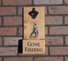 Gone Fishing Wall Mounted Bottle Opener w/ Cap Catcher & Easy Removal - Great Gift For Dads, Drinkers, Man Caves, Fishermen, Customize it! by GrizzlyBearCreations on Etsy