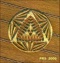 Crop circle with hexagram and triangle variation.