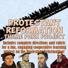 This fun, highly creative cooperative learning project for the Protestant Reformation has your students designing theme parks to demonstrate their understanding of the branches of Christianity that arose out of the Reformation! World History Classroom, World History Teaching, World History Lessons, History Activities, Teaching Activities, Teaching Ideas, Classroom Activities, Teaching Tools, Modern World History