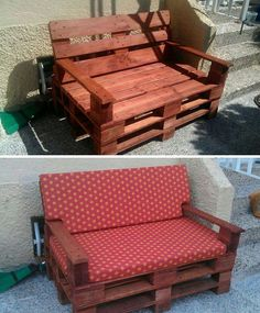 Outdoor bench made of pallets!