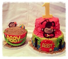Monkey 1st birthday cake and smash cake..all edible