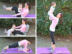 EXERCISES FOR MOM AND BABY ~  Lose the baby weight and fit back into those skinny jeans in no time!  All you need is your baby and your own body to get into great post-baby shape.