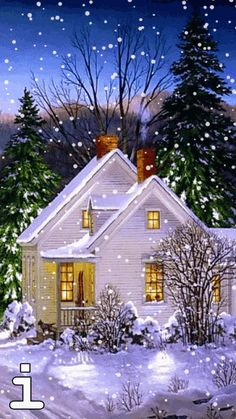 Press the picture and the lights will come on and the snow will start falling!!!
