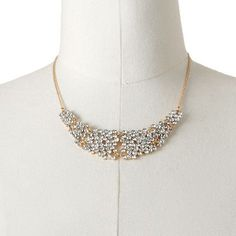 ELLE BIJOUX Gold Tone Simulated Crystal Bib Necklace