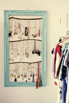 This is a great idea.  I used to use a cork board and pin all my jewerly up but I'm going to have to make this.