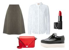 Though a crisp white lace button-down pairs nicely with mossy green A-line skirt, an immediate way to brighten up neutrals is with a bold red lip-and-bag combo. Meanwhile, platform oxfords provide height without the pain.