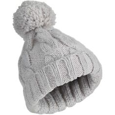 Miss Selfridge Grey Knitted Pom Beanie (2560 ALL) ❤ liked on Polyvore featuring accessories, hats, grey, grey hat, grey beanie, fur beanie, fur hat and gray hat
