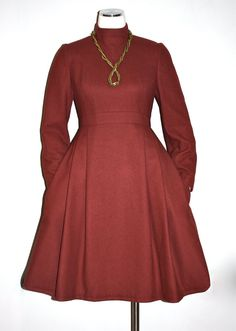 GALANOS Vintage Dress Rust Wool Mock Full Skirt by StatedStyle