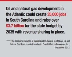 Developing Offshore resources off South Carolina's coast = more jobs, a boost to the local economy.