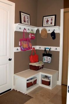 Drop zone when you don't have space for a mud room - for corner by front door. Would do something different than the separate shelves