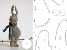 PDF Sewing Pattern Stuffed Bunny Stuffed Animal Toy Rabbit 7 inches Instant Down. Sewing Toys, Sewing Crafts, Sewing Projects, Sewing Stuffed Animals, Stuffed Animal Patterns, Bunny Toys, Sock Bunny, Bunny Rabbit, Bunny Plush