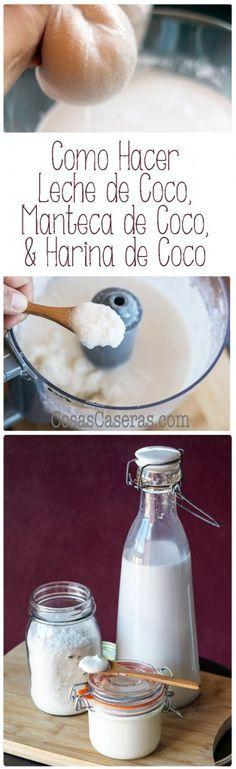 Hoy os enseño como hacer leche de coco, manteca de coco y harina de coco facilmente y sin conservantes usando solo coco desecado.