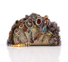 efd7e160522e6 MARY FRANCES Beaded Rhinestone Embellished Seashell Hard Case Clutch Purse  #MaryFrances