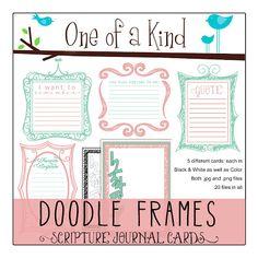 Scripture journal doodle framed journaling cards