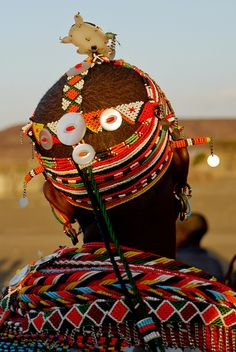 Africa |  Details of the beadwork on a Rendille woman's head. Chalbi desert, Kenya  | © Rita Willaert