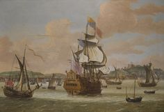 """Charles II and James, Duke of York, on board H.M.S. """"Triumph"""", with three royal yachts off Dover JACOB KNYFF HAARLEM 1638 - 1681 LONDON oil on canvas 120.5 by 174 cm.; 47 1/2 by 68 1/2 i"""