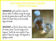 No-poo- rinçage vinaigre de cidre- recette- copyright- échos verts