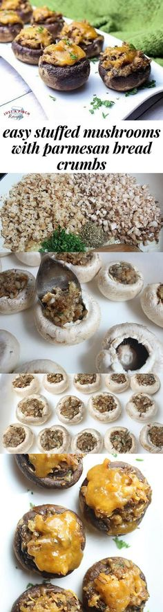 Easy stuffed mushrooms with parmesan bread crumbs - Easy Holiday Appetizers - Mushroom Recipes Quick And Easy Appetizers, Finger Food Appetizers, Holiday Appetizers, Easy Appetizer Recipes, Appetizers For Party, Finger Foods, Party Snacks, Holiday Treats, Easy Bread Recipes
