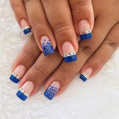french nails tips Hands Pretty Toe Nails, Fancy Nails, French Nail Art, French Tip Nails, Classy Nails, Stylish Nails, Blue Nails, My Nails, Diy Nail Designs