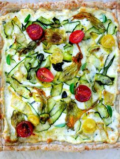 Italian Summer Bounty Zucchini and Squash Tart with Ricotta, Romano, Mozzarella, Aged Cheddar and Fresh Garlic