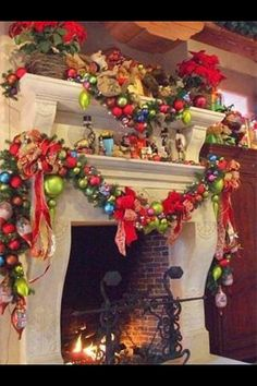 How the Grinch stole Christmas fire place decor.