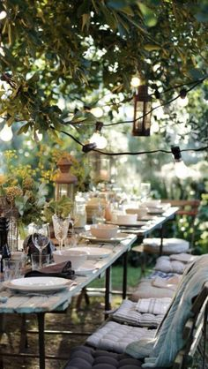 Dear Marty A garden Party with Al Fresco setting for you,hope you have a great time and enjoy.Love and Blessings Ramonita Outdoor Table Settings, Table Place Settings, Outdoor Tables, Outdoor Dining, Patio Dining, Dining Set, Dining Room, Backyard Wedding Lighting, String Lights Outdoor