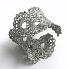 Vintage Scalloped Lace Silver Cuff Bracelet by WhiteFly on Etsy, $1,500.00