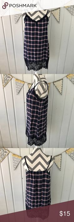 Aerie Plaid Flannel Slip Chemise Nightgown Dress Soft flannel & lace slip from American Eagle Aerie. Purchased from Aerie in early December 2014. I was pregnant, and I couldn't wear it. I washed it and dried it, and 3 years later, I still haven't worn it! It is in excellent condition. It does have a minor amount of normal fluff you get from washing soft flannel. Could be worn as a nightgown, slip, or a dress layered with a long chunky sweater. The sweater pictured is also for sale in my…