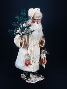 CHRISTMAS: New 19 inch Paper mache *German Santa* candy container by Paul Turner studio German Christmas, Christmas Past, Victorian Christmas, Father Christmas, Christmas Candy, All Things Christmas, Vintage Christmas, Christmas Crafts, Christmas Ideas