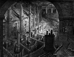 Over the city by railway by Gustave Doré from London: A Pilgrimage. 1872. Doré here depicts the effect of the way railways cut into the hearts of city