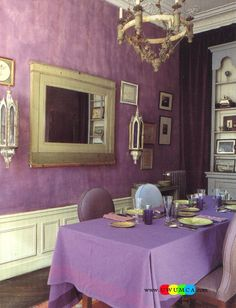 Dining RoomDecorating Purple Room Color Space Walls Paint Ideas Table And Chairs Furniture Set Design Area Seat Cushio