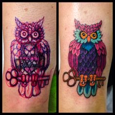 A free hand cover tattoo I did of a owl and key that I felt worked well.