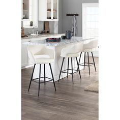 Modern Rustic Interiors Crosby Bar & Counter Stool & Reviews | Wayfair White Bar Stools, 26 Bar Stools, Counter Height Bar Stools, Swivel Bar Stools, Bar Counter, White Counters, Square Dining Tables, Shop Interiors, Modern Rustic Interiors