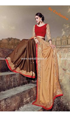 Sari Bollywood Simran - Marron Golden Brown Saree Glam & Chic Pure Satin pour 250€ chez #NarkisFashion #SoExclusive