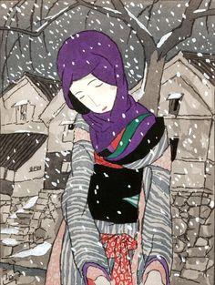 Takehisa Yumeji, 1884-1934 竹久夢二 Title Snowy Night Legend Medium color woodblock print