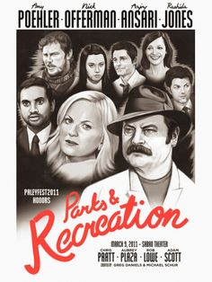 Retro-inspired, Casablanca-style poster for Parks and Recreation, designed by Mike Mitchell for Parks And Recreation, Parks And Rec Memes, Parks And Recs, Greg Daniels, Mike Mitchell, The Rocky Horror Picture Show, Love Park, Ron Swanson, Cool Posters